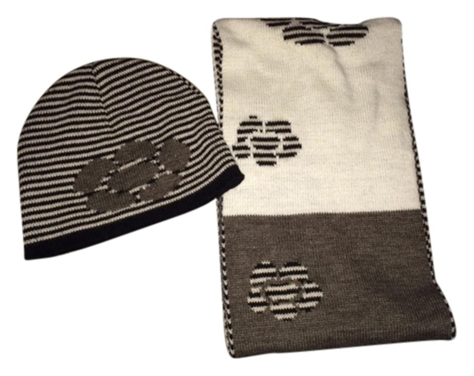 2f0065949f8 Nordstrom Nordstrom Brand knit hat and scarf in Black Grey and White print  ...