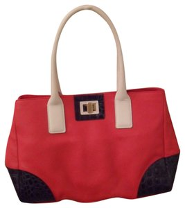 Furla Joy Leather Medium Handbag White Black Tote in Red
