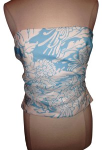 Kay Unger Strapless Crop Size 8 Top Blue White