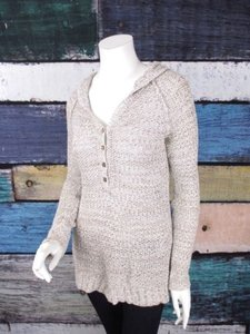 Free People People Hooded Open Knit Tunic Sweater
