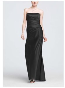 David's Bridal Black Silk F13974 Formal Bridesmaid/Mob Dress Size 4 (S)