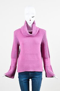 Valentino Mauve Cashmere Ribbed Knit Long Sleeve Turtleneck Sweater