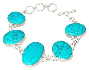 HUGE SALE!!! Brand New! BEAUTIFUL HANDCRAFTED TURQUOISE & .925 SOLID STERLING SILVER BRACELET!
