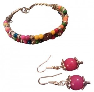 Other Pink & Colored Turquoise/Jade & Tibetan Silver Boho Bracelet & Earring Set NWT