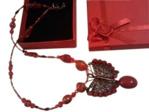 handmade Handmade Red Jade Butterfly Boho Charm Necklace with Murano Glass Beaded Chain - Red Gift Box Included