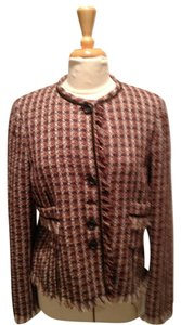 Philippe Adec Fringe Hem Brown Tweed Blazer