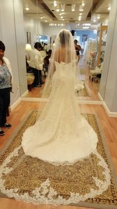 Bridal Lace Cathedral Veil 1 Tier With Comb