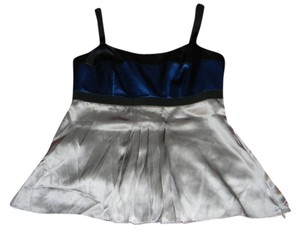 Ann Taylor Holiday Silk New Top Blue & Silver