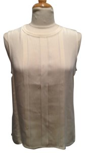 Jones New York Shell Silk Pleated Top Cream