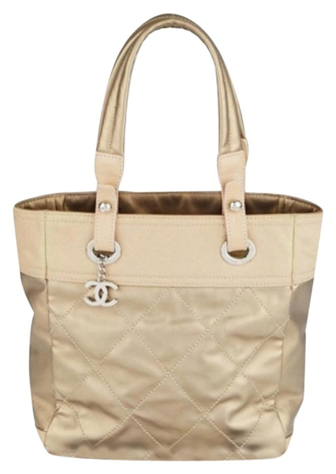 180bb2ad83 Chanel Tote Biarritz Quilted Coated Canvas Paris-biarritz Light Gold ...