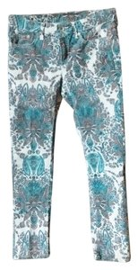 jcp Paisley Capris White, Orange and Teal