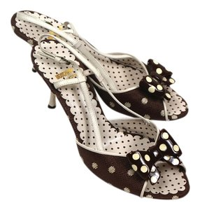 Moschino Polka Dots Brown With Bows brown, ivory Sandals