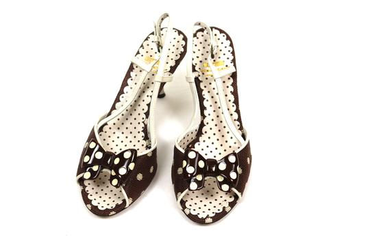 Moschino Polka Dots With Bows brown, ivory Sandals