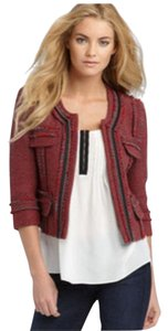 Hinge Zipper Trim Open Red Jacket
