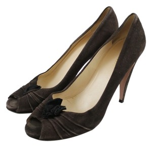 Prada Peep Toe Suede Rosette Brown Pumps