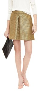 Banana Republic Pleated Tweed Classic Mini Skirt Gold