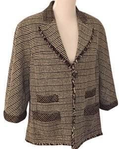 Chanel Tweed Jacket Black & Brown Blazer