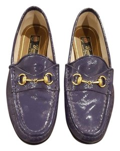 Gucci Patent Leather Driver Navy Flats