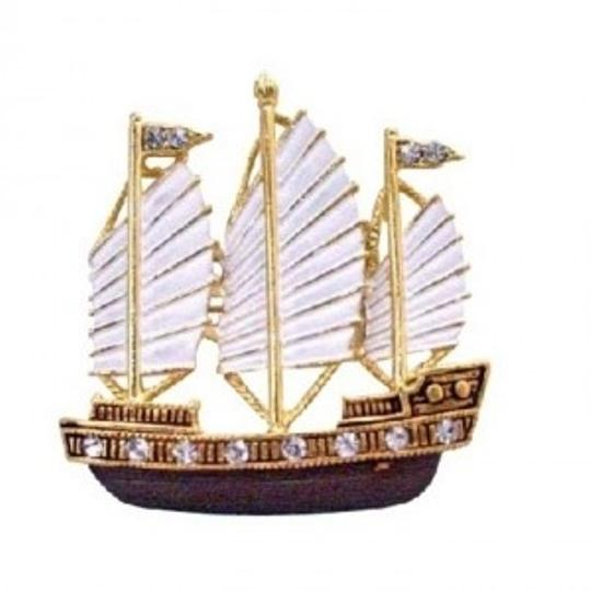 Gold White Sail Boat Handmade Painted Hand Painted Brown Golden Brooch/Pin