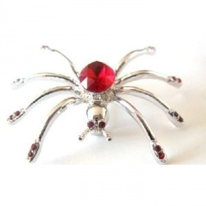 Silver Red Siam Crystals Spider Halloween Striking Brooch/Pin