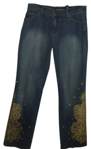 DKNY Embellished Metallic Dress Designer Gold Boot Cut Jeans
