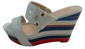 Nine West Leather white red blue Wedges