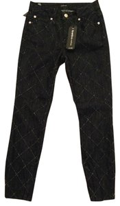 bebe Diamond Pick Ankle Zip Crop Skinny Jeans-Dark Rinse