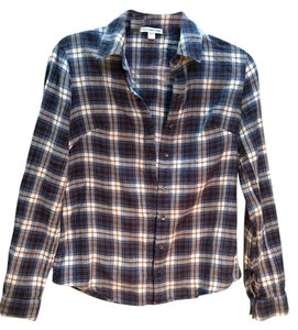 James Perse Plaid Button Down Button Down Shirt Multi
