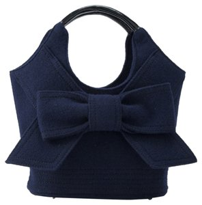 Kate Spade Bow Winter Wool Holiday Tote in Navy blue