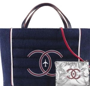 Chanel Airlines Tote Large Beach Tote navy Travel Bag