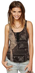 Free People We The Free Bandana American Country Top Black & Brown