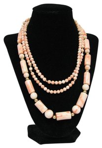 Other Rare 1920's Large Angelskin Coral and Gold Column Statement Necklaces