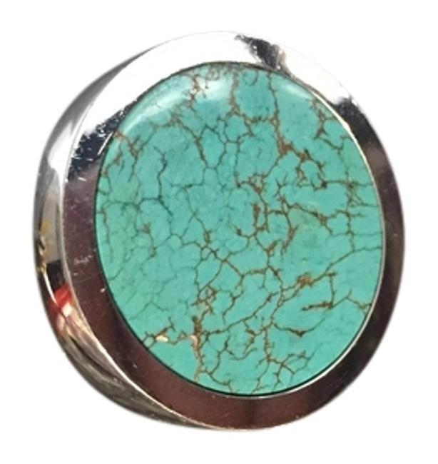 Item - White Silver with Turquoise Stone Slice Disc Ring