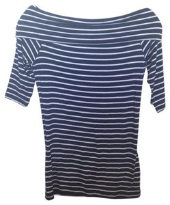French Connection Boat Neck 3/4 Sleeve T Shirt Navy + White Stripe