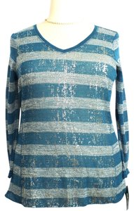 Style & Co Plus Size Fashion Rugby Top New Size: 0X Teal, White & Silver