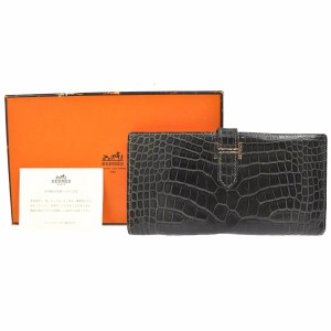 Hermès HERMES Bearn CLASSIC Black Alligator Two-Fold Silver Hardware Wallet
