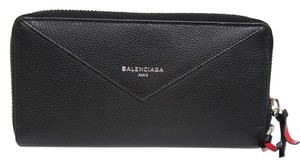 Balenciaga New Balenciaga Papier Black Rouge Continental City Leather Zip Wallet Bag