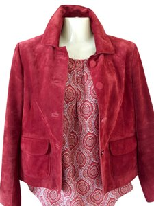 Ann Taylor Suede Rust/Red Leather Jacket
