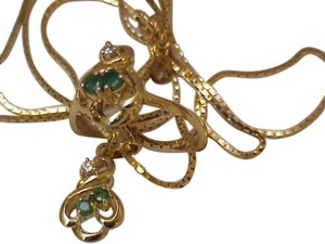Estate Vintage 14k Yellow Gold Necklace with Genuine Emeralds & Diamond Pendant + 14k Yellow Gold Ring, Beautiful Pieces