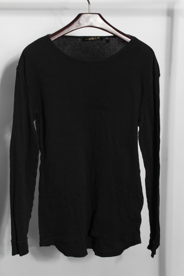Balmain x H&M * Mens Ribbed Basic Long Sleeve Nwt T Shirt Black ...