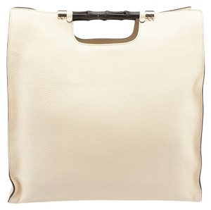 Gucci Bamboo Daily Leather Tote in Cream