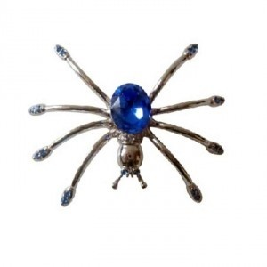 Silver Blue Austrian Sapphire Crystals Spider Vintage Brooch/Pin