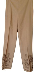 Ann Taylor Shell 69% Rayon 29% Polyester Trouser Pants tan with brown sparkly trim