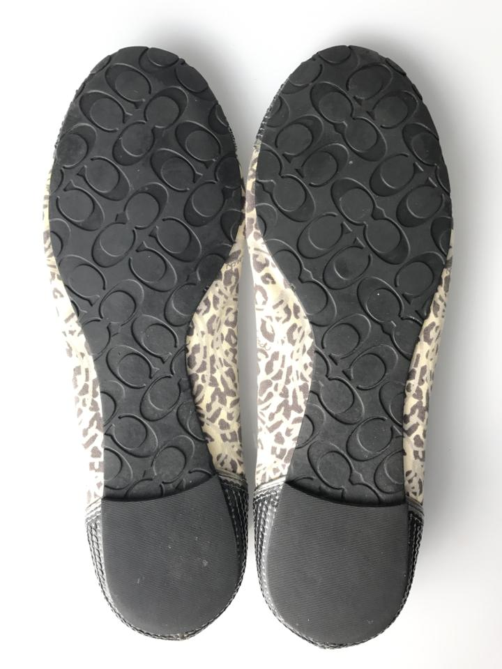 06a173cb8f3b8 Coach Gray Cream Sequin Animal Print Flats Size US 8.5 Regular (M