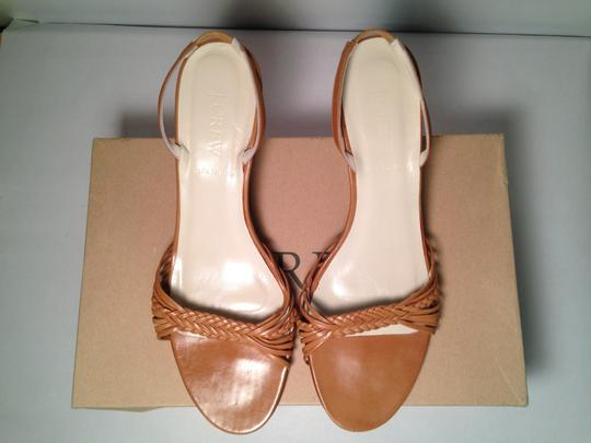 J.Crew Italian Leather Sling Back Leather Camel Wedges