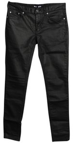 BLK DNM Coated Denim Mens Ribbed Knees Skinny Jeans