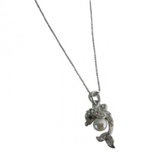 Silver Dolphin Pendant Holding Ball Stunning Dolphin Pendant Necklace Jewelry Set