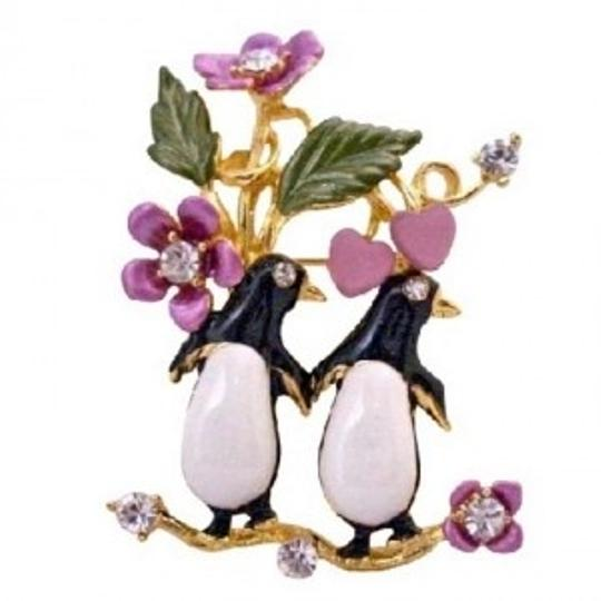Black White Twin Penguin Love Romantic Valentine Love Duet Brooch/Pin