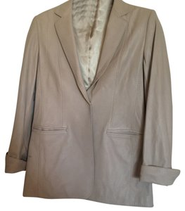 Elie Tahari Beige Leather Jacket