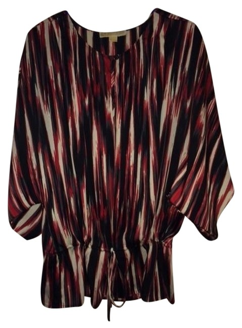 Item - Black Red and White Pullover Poly Blouse In Print. Cinched Waist with Mk Signature Tie with Goldtone Beads Tunic Size 14 (L)
